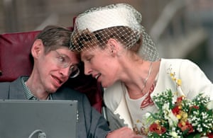 Stephen Hawking with his second wife, Elaine Mason, after their marriage at Cambridge register office