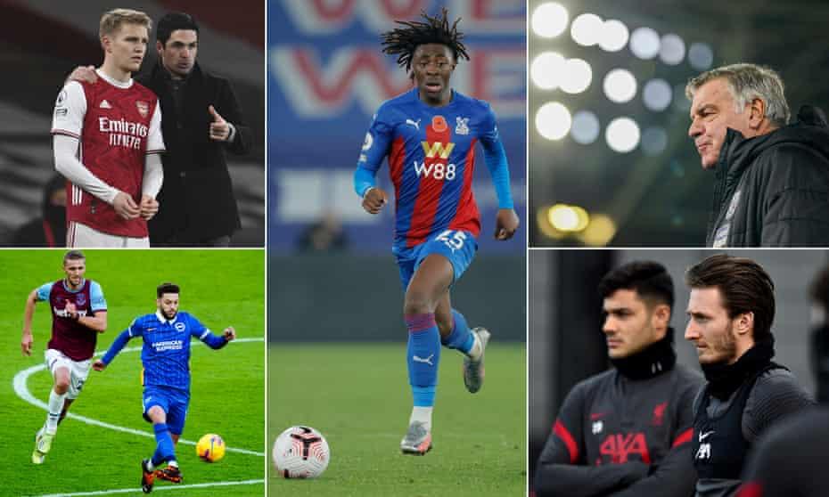 Mikel Arteta, Martin Ødegaard, Eberechi Eze, Sam Allardyce, Liverpool's new signings Ben Davies and Ozan Kabak, Brighton and Hove Albion's Adam Lallana.