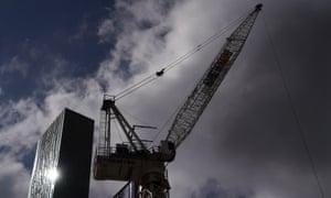 A crane at a Melbourne construction site