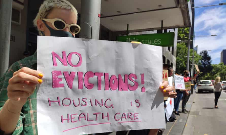 A protest in the Melbourne CBD against the eviction of homeless people who were housed in hotels during the coronavirus pandemic