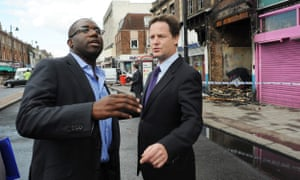 David Lammy and former deputy prime minister Nick Clegg assess the damage after the riots.