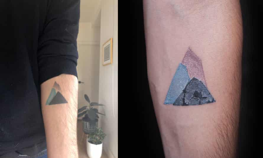 Left: James Shackell's mountain tattoo. Right: a similar tattoo found by searching 'geometric tattoo' on a stock image website