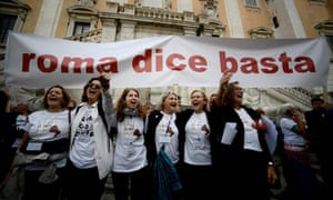 Demonstrators gather under the banner 'Roma dice basta' ('Rome says enough') to highlight the city's perilous state.