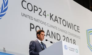 Edson Gonçalves Duarte, minister of the environment of Brazil, speaks during the COP24 UN climate change conference 2018 in Katowice, Poland