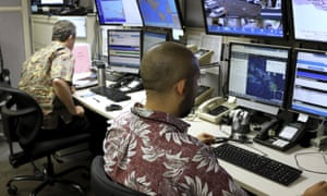 Hawaii Emergency Management Agency officials at the command centre in Honolulu monitor the possibility of a nuclear attack from North Korea.