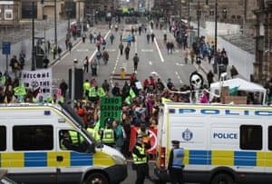 A roadblock on North Bridge in Edinburgh