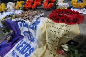 Tributes for Hunter outside Elland Road.