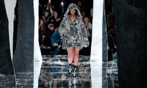 Rihanna walks the runway at the Fenty Puma show in February in New York.
