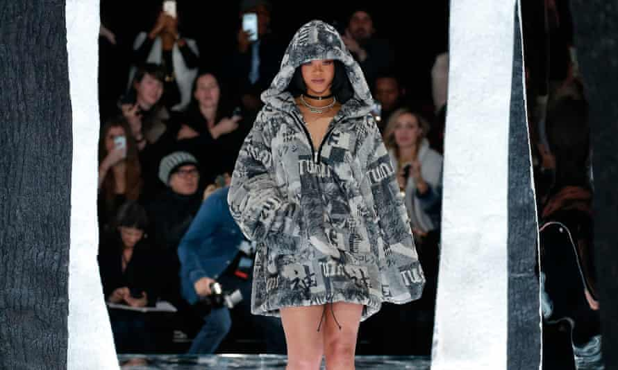 Rihanna takes to the runway for the first time as Puma creative director at New York fashion week.