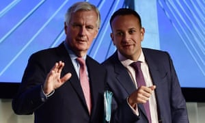The EU's chief Brexit negotiator Michel Barnier (left) gives a joint speech with Leo Varadkar in Dundalk, Ireland.