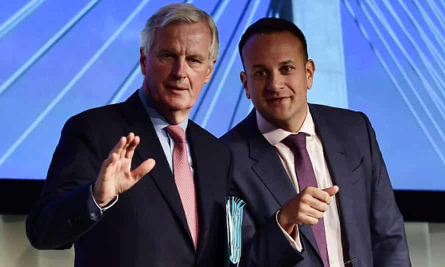 The EU's chief Brexit negotiator Michel Barnier (left) gives a joint speech with Leo Varadkar in Dundalk, Ireland.