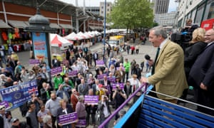 Rising populism … Ukip leader Nigel Farage in Birmingham, 2016, campaigns to leave the EU.