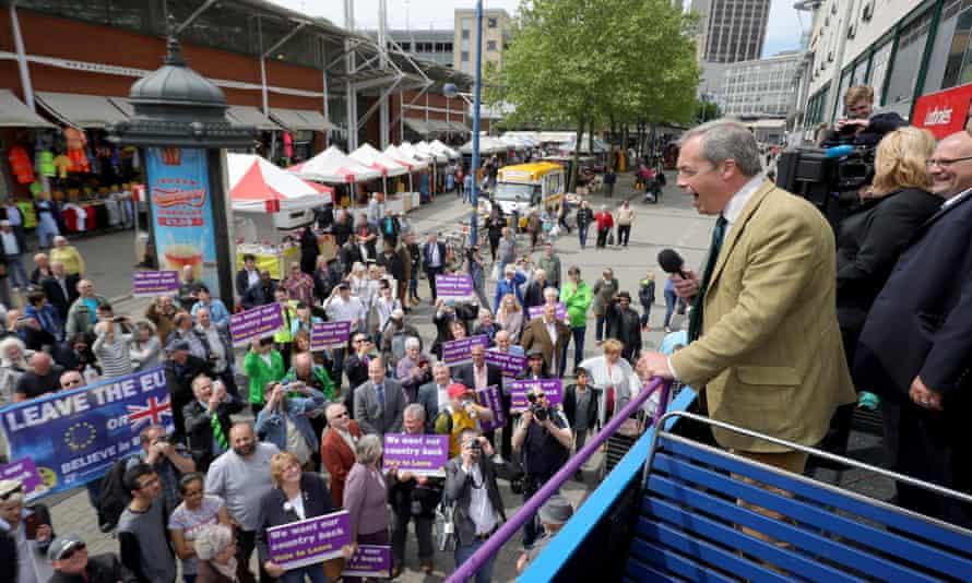 Rising populism … Ukip leader Nigel Farage in Birmingham, 2016, campaigns to leave the EU.