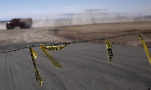 Barbed wire surrounds a construction site on the outskirts of San Luis Potosí. The city, where journalist Edgar Esqueda was murdered, has boomed economically in recent years but been plagued by drug cartel violence.