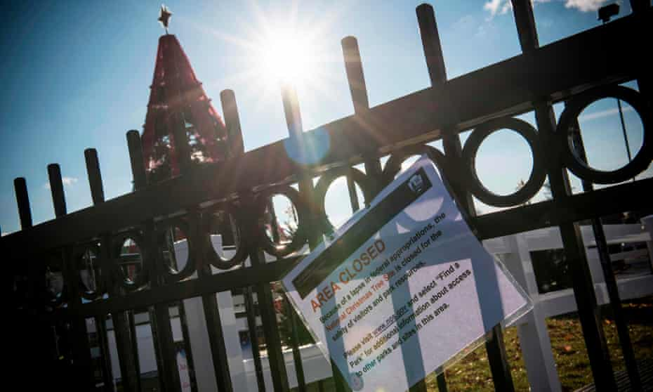 The area next to the National Christmas Tree is closed in Washington DC on 24 December as part of the partial government shutdown.