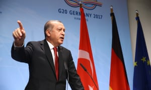 Recep Tayyip Erdogan at the G20 leaders' summit in Hamburg, Germany.