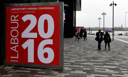 Delegates arrive for the second day of the Labour party conference in Liverpool.