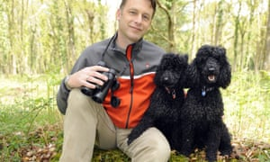 Chris Packham in 2009 with his dogs Itchy and Scratchy.