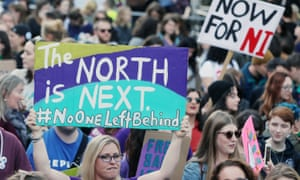 Demonstrators call for abortion services to be extended to Northern Ireland.
