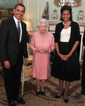 Michelle Obama wearing a Azzedine Alaia cardigan to meet the Queen, during an audience at Buckingham Palace in London, 1 April 2009.