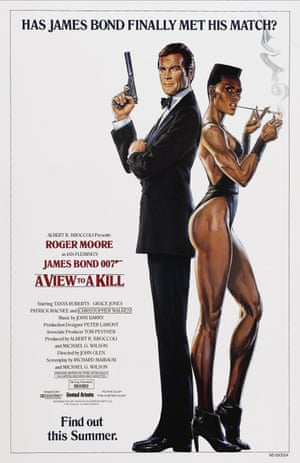 A poster of A View to a Kill, 1985 featuring Roger Moore and Grace Jones