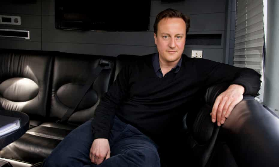 David Cameron, then leader of the opposition, on board the Conservative battlebus during the 2010 general election campaign.