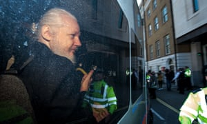 Julian Assange appears at Westminster magistrates court on Thursday.