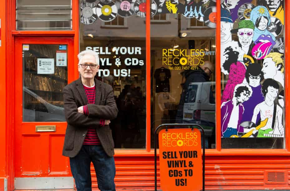 Reckless Records' manager Duncan Kerr, Berwick Street, Soho