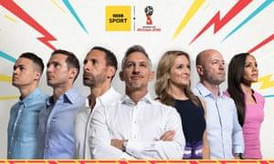 The BBC's team includes the England right back, Alex Scott, far right.