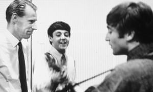 George Martin in the studio with Paul McCartney and John Lennon in 1964. By 1968's White Album, the relationship had deteriorated, says a new biography.