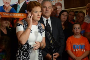 Pauline Hanson in Perth with supporters on the night of the Western Australia election