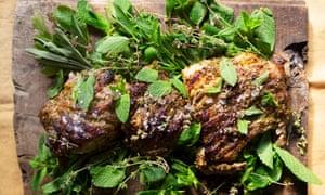 Roast lamb with summer herbs and lemon.