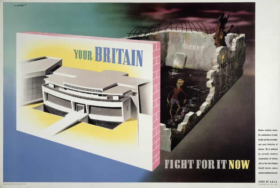 A 1942 poster by Abram Games contrasts the newly built Finsbury Health Centre with bomb sites where diseases fester.