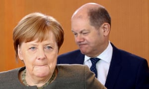 The German chancellor, Angela Merkel, and the finance minister, Olaf Scholz, at a cabinet meeting in Berlin.
