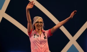 A delighted Fallon Sherrock celebrates her victory over Mensur Suljovic, which takes her into the last 32 of the PDC world darts.