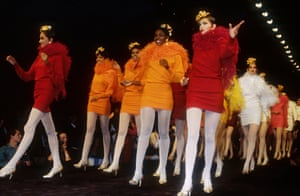 Short dresses and long boas – Kenzo's spring-summer 1991 collection. By the 90s, the brand had launched a soon-to-be successful line of perfume