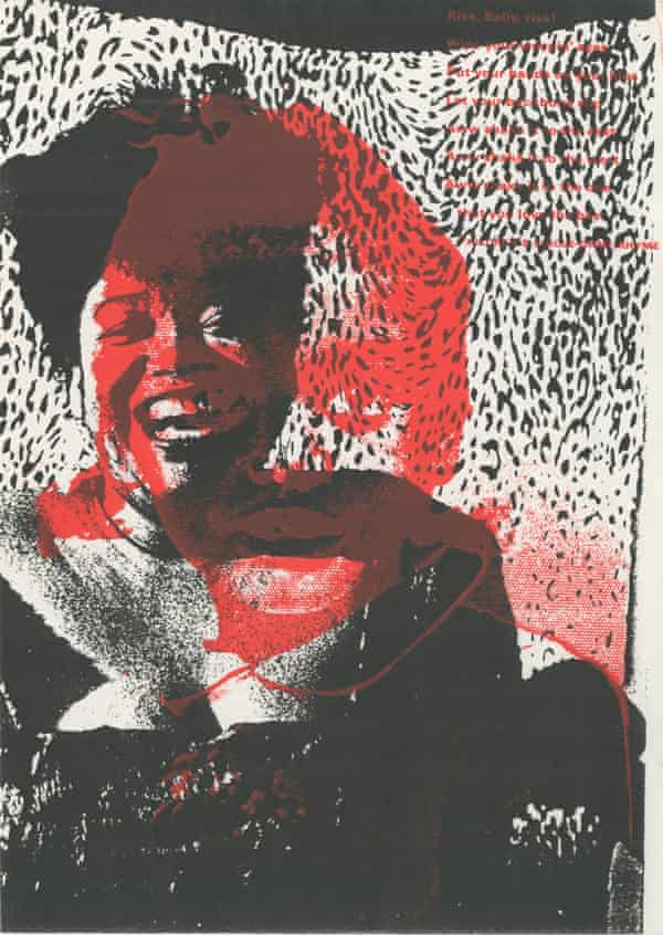 Artwork incorporating a photograph of a black woman laughing against a black and white leopard-print background, with abstract red daubs of paint on top