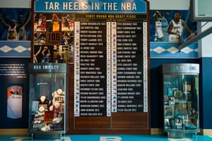 NBA Honour Roll display at University of North Carolina at Chapel Hill, Carolina Basketball Museum. The museum is for UNC's team the Tar Heels.
