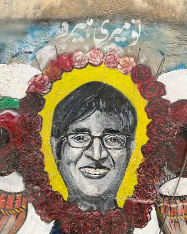 Mural of Sabeen Mahmud outside T2F. The Urdu reads: 'You are my hero.'