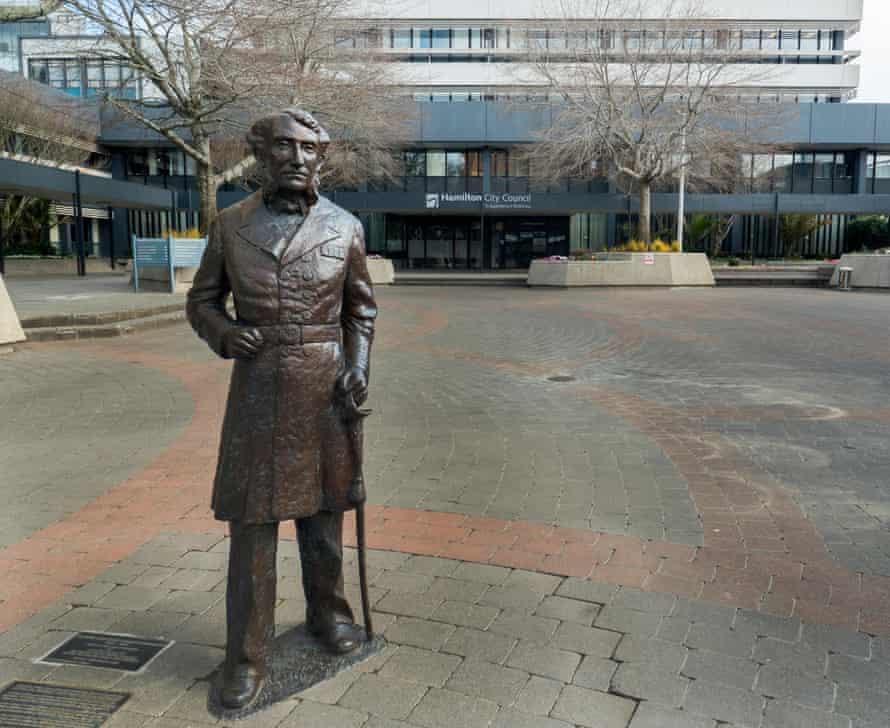 The statue of Captain John Hamilton outside Hamilton council offices.