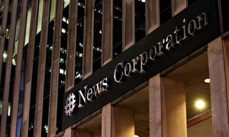 The headquarters of News Corp in New York. The company suffered a $1.5bn loss with declines across its businesses, except for the Dow Jones group.
