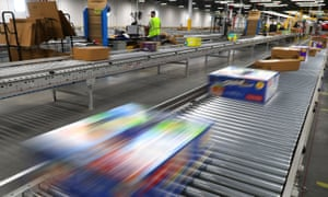 Packages are processed inside an Amazon warehouse