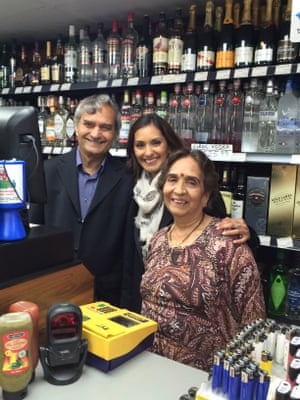 Babita Sharma with her father, Ved, and mother, Prem, at their former shop V.P. Superstore (now a Costcutter) in Caversham, Reading