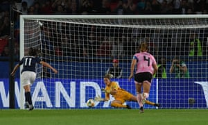Scotland's Lee Alexander saves Florenica Bonsegundo's first penalty with a fine block before VAR intervened and it was retaken.