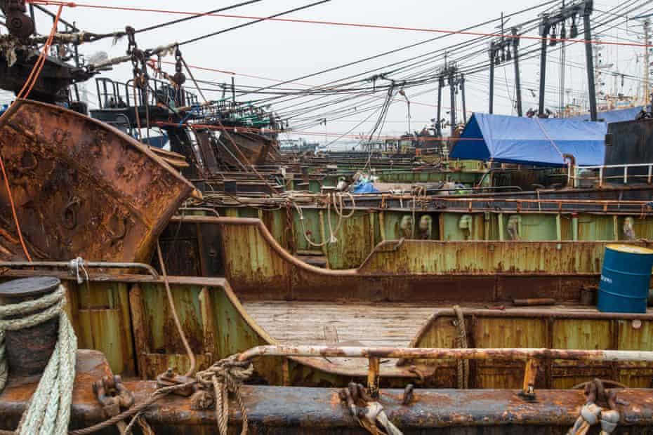 Fishing trawlers in the port of Busan, South Korea.