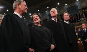 The chief justice of the US, John Roberts, with fellow justices, Elena Kagan, Neil Gorsuch and Brett Kavanaugh at Donald Trump's State of the Union address in February.