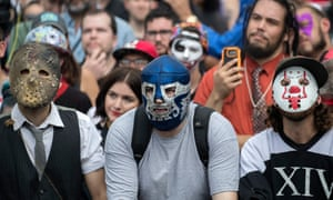 Juggalo March on the National Mallepa06209156 Jaggalos, fans of the band Insane Clown Posse, listen to a speaker during the Jaggalo March at the Lincoln Memorial in Washington, DC, USA, 16 September 2017. The march is in protest to the FBI's National Gang Intelligence Center listing the Juggalos as a 'hybrid gang'. EPA/SHAWN THEW