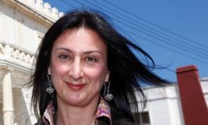 The late Maltese investigative journalist Daphne Caruana Galizia outside the Libyan Embassy in Malta on 6 April 2011.
