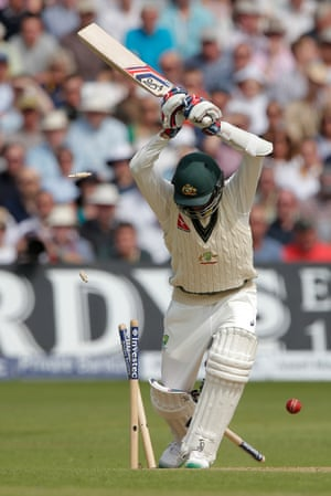 <strong>Day Three</strong><br>Nathan Lyon is bowled by Mark Wood for the final wicket of the match to give England the victory