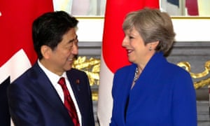 Theresa May with Shinzo Abe on a visit to Japan.